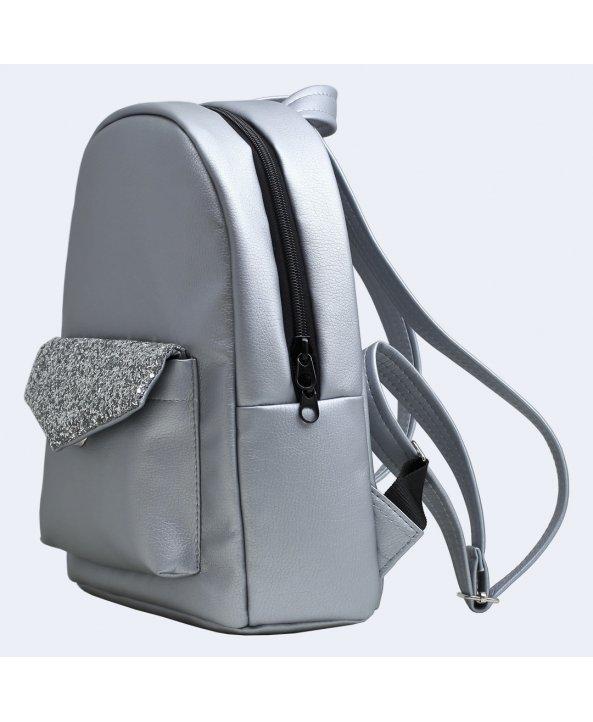 5c5ec42d3492 Серебряный кожаный рюкзак silver - Twins Store   Интернет-магазин ...