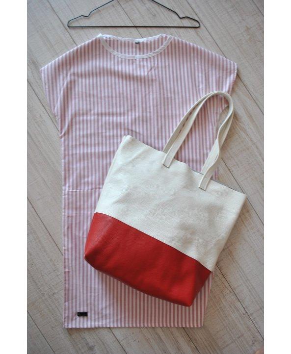 Двухцветный кожаный шоппер - EasyEasy