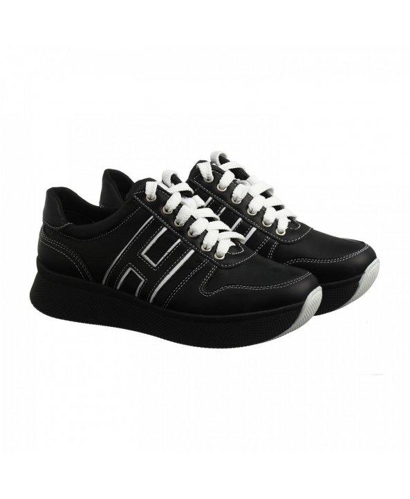 Чорні шкіряні кросівки на високій підошві om-03 - Villomi ... 930b9aec6a07c