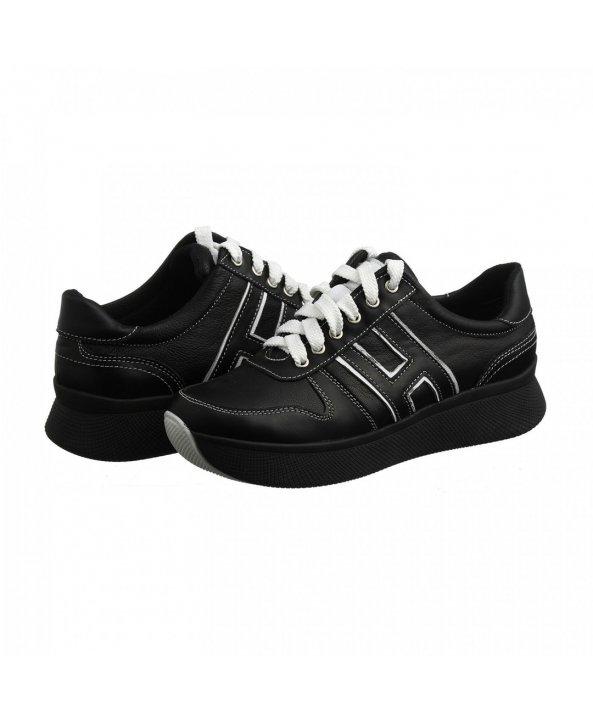 ... Чорні шкіряні кросівки на високій підошві om-03 - Villomi ... df1dd13667ecd