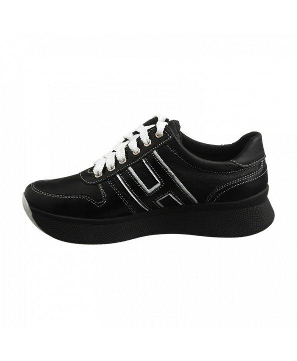 ... Чорні шкіряні кросівки на високій підошві om-03 - Villomi c4ef1970acfc4