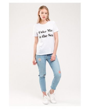 Белая футболка Take me to the sea - Gee!