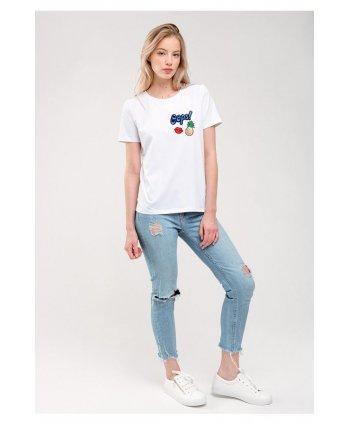 Белая футболка с нашивками - Gee!