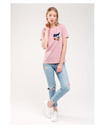Пудровая футболка с нашивками - Gee!